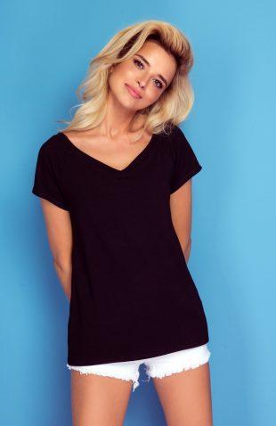 Koszulka basic czarna i biała dekolt V