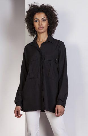 Koszula casual z kieszonkami czarna