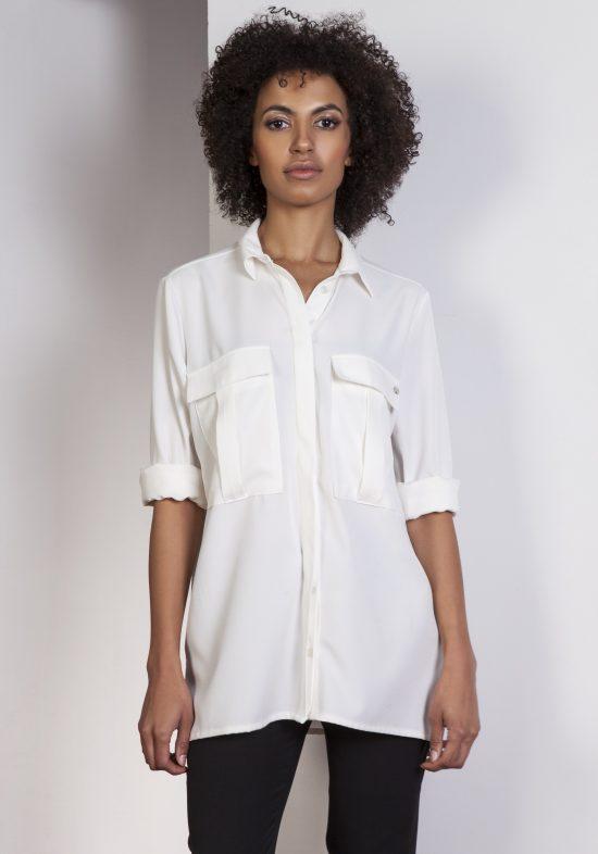 Koszula casual z kieszonkami ecru