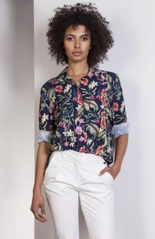 Koszula casual z kieszonkami w kwiaty