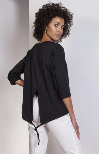 Elegancka bluzka z tyłem typu frak czarna