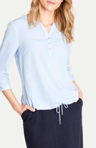 Elegancka bluzka na lato z troczkiem niebieska