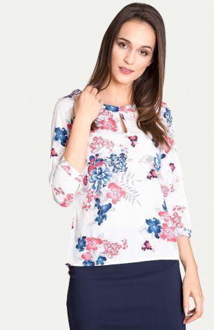Elegancka bluzka do biura w kwiaty
