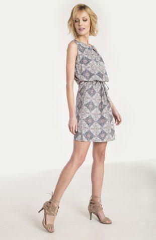 Wiskozowa sukienka z nadrukiem beż