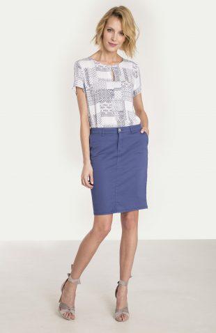 Bawełniana spódnica ołówkowa niebieska