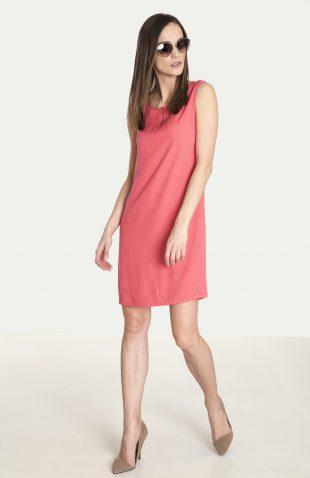 Prosta wiskozowa sukienka na lato pomarańcz