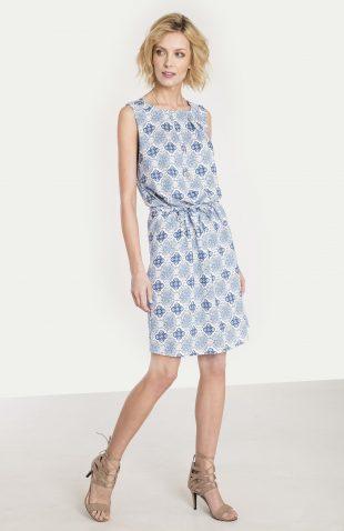 Wiskozowa sukienka z nadrukiem błękit