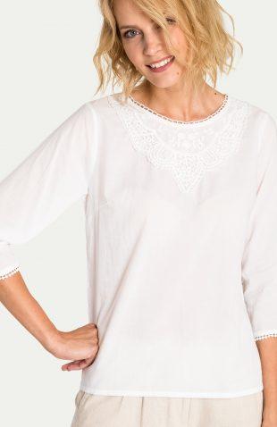 Biała bawełniana bluzka z ozdobnym dekoltem