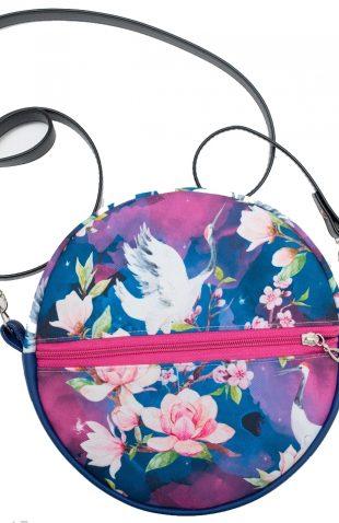 Mała torebka damska okrągła nadruk żurawie