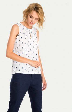 Elegancka bluzka bez rękawów we flamingi