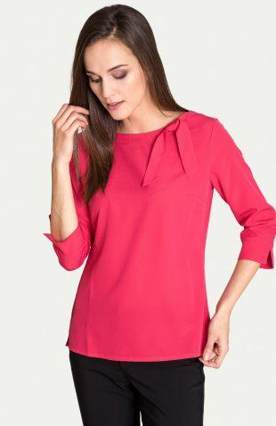 Elegancka bluzka z ozdobnym wiązaniem przy dekolcie