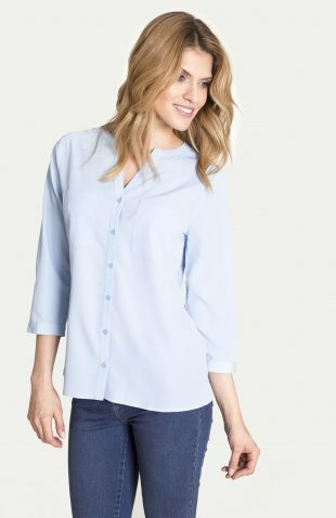 Elegancka bluzka koszulowa niebieska