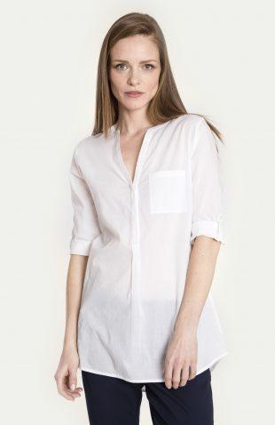Bluzka koszulowa bawełniana biała