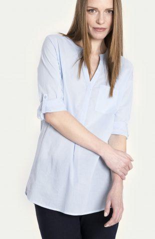 Bluzka koszulowa bawełniana niebieska