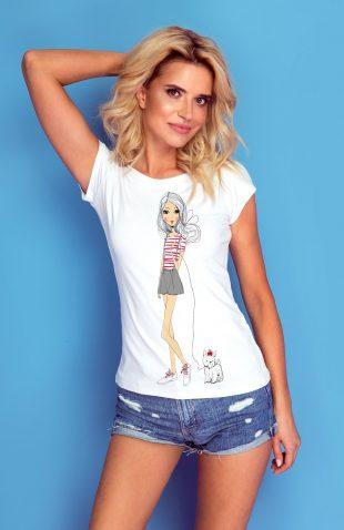 Koszulka z autorskim nadrukiem dziewczyna z psem