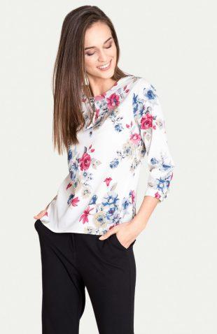 Elegancka bluzka w kolorowe kwiaty