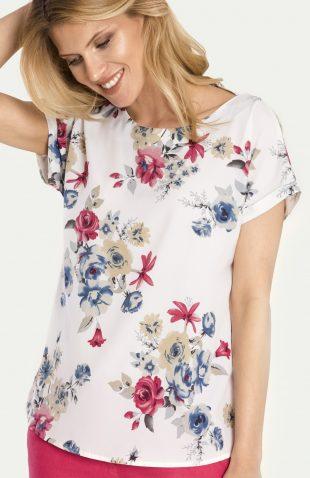 Elegancka letnia bluzka w kwiaty