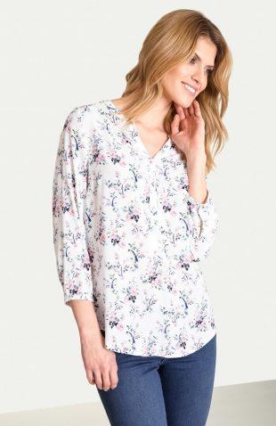 Bluzka damska koszulowa w kwiaty