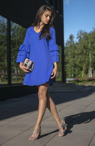 Sukienka koktajlowa z falbaniastymi rękawami