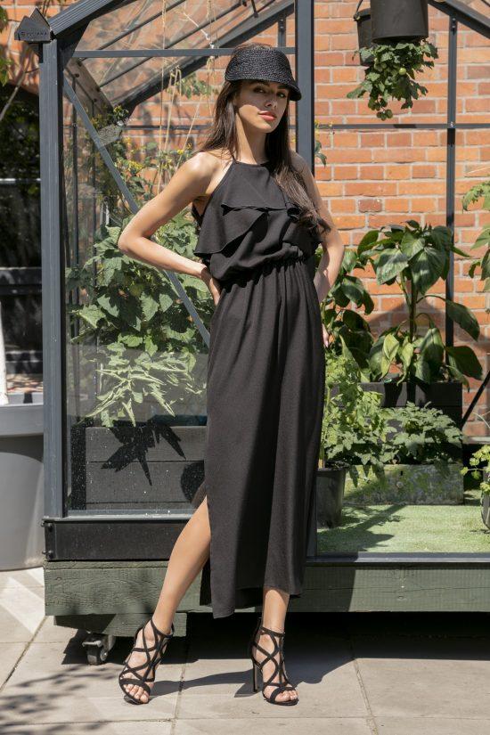 Sukienka maxi z falbanami przy dekolcie