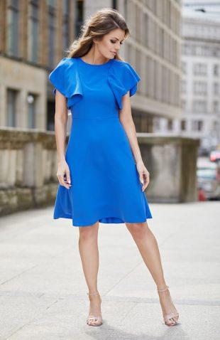 Elegancka sukienka wizytowa na lato kolor indygo