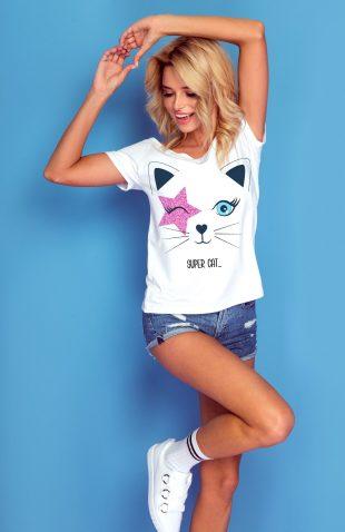 Koszulka z kolorowym nadrukiem super kot