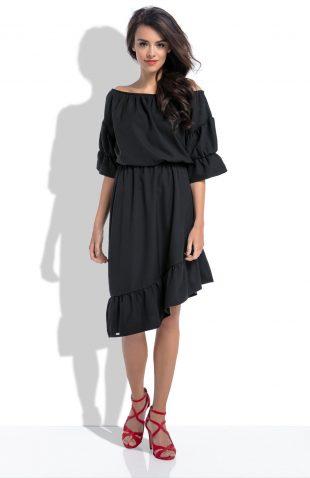 Sukienka hiszpanka midi z asymetrycznym dołem