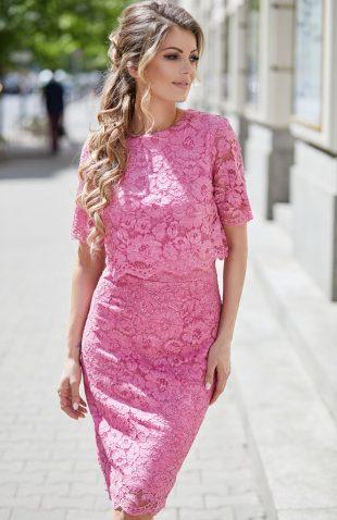 Sukienka koronkowa na wesele fuksja