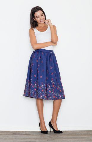 Spódnica letnia rozkloszowana w kwiaty niebieska