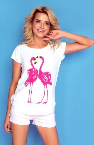 Koszulka z autorskim nadrukiem flamingi