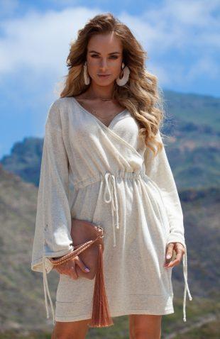 Sukienka letnia do kolan z włoskiej przędzy