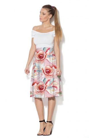 Spódnica rozkloszowana nadruk róże
