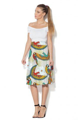 Spódnica rozkloszowana nadruk kolorowe papugi