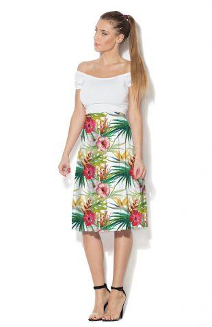 Spódnica kolorowy nadruk liście palmy