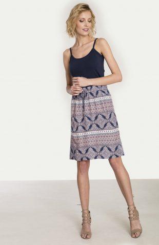 Wiskozowa spódnica z nadrukiem na lato