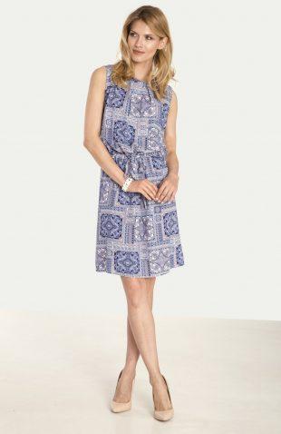 Wiskozowa sukienka z nadrukiem niebieska