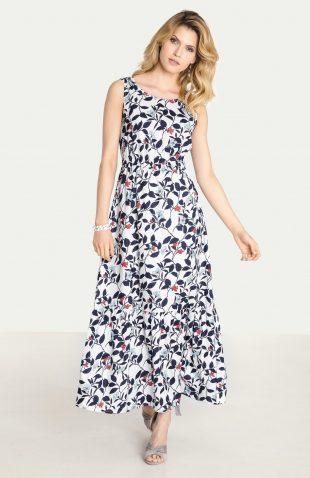 Długa wiskozowa sukienka z kwiatowym nadrukiem