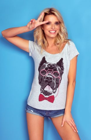 Koszulka z autorskim nadrukiem pies z muchą