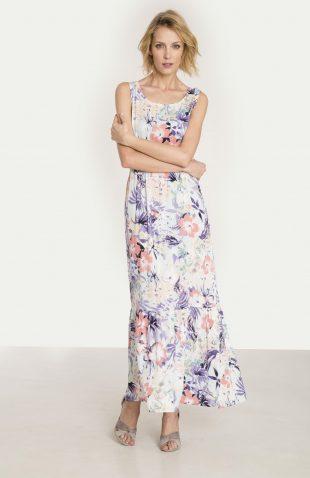Długa wiskozowa sukienka kwiecisty nadruk