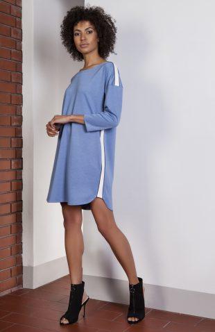 Sukienka casual z lampasami niebieska
