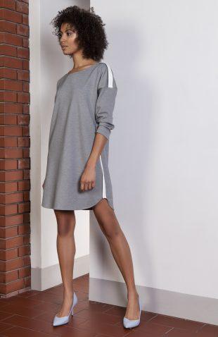 Sukienka casual z lampasami szara