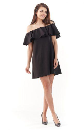 Sukienka hiszpanka mini z falbaną czarna