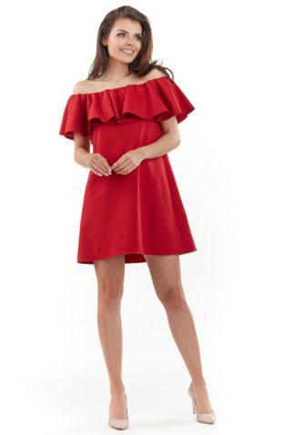 Sukienka hiszpanka mini z falbaną czerwona