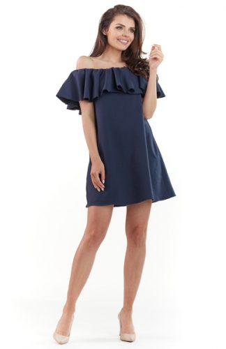 Sukienka hiszpanka mini z falbaną granat
