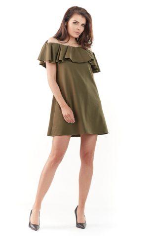 Sukienka hiszpanka mini z falbaną khaki