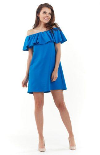 Sukienka hiszpanka mini z falbaną niebieska