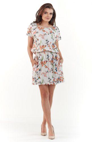 Lekka letnia sukienka w kwiaty ecru