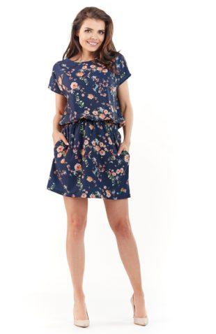Lekka letnia sukienka w kwiaty granat