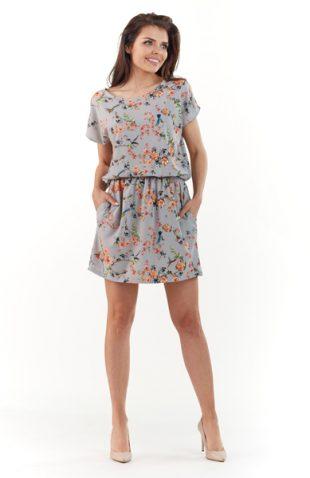 Lekka letnia sukienka w kwiaty szara