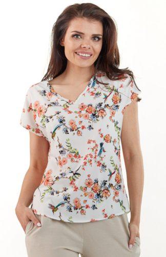 Lekka letnia bluzka w kwiatowy wzór ecru